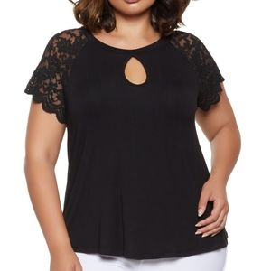 Ambiance plus size key hole lace detail top. New!
